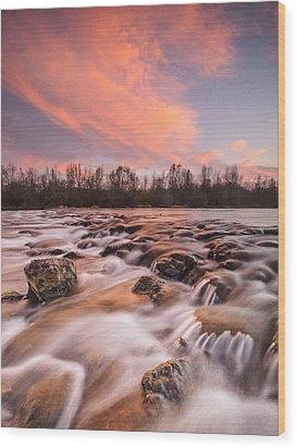 Pink Rapids Wood Print by Davorin Mance