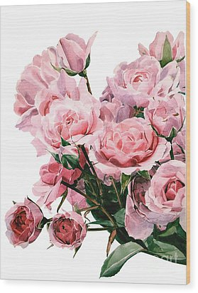 Pink Rose Bouquet Wood Print