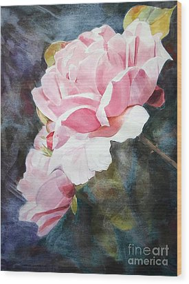 Pink Rose Caroline Wood Print by Greta Corens