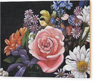Wood Print featuring the painting Pink Rose Floral Painting by Judy Filarecki