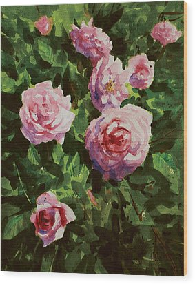 Pink Rose Wood Print by Helal Uddin
