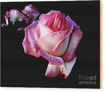 Wood Print featuring the photograph Pink Rose  by Leanne Seymour