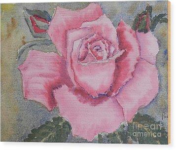 Pink Rose Wood Print by Pamela  Meredith