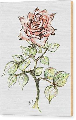 Pink Rose Wood Print by Teresa White