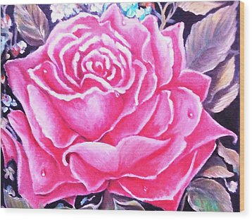 Wood Print featuring the painting Pink Rose by Yolanda Rodriguez
