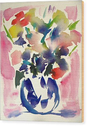Pink Roses In A Blue Vase Wood Print by Tolere