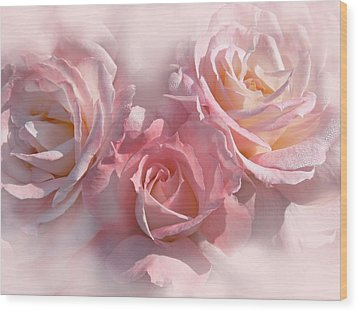 Pink Roses In The Mist Wood Print by Jennie Marie Schell