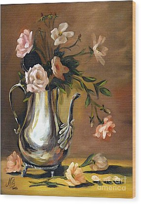 Pink Roses Wood Print by Nancy Bradley