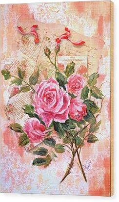 Pink Roses On Vintage Letters Wood Print