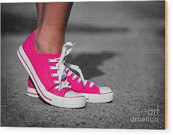 Pink Sneakers  Wood Print by Michal Bednarek