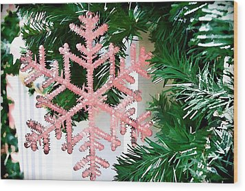 Pink Snowflake Wood Print by Audreen Gieger-Hawkins