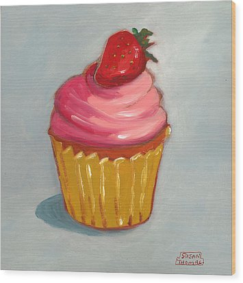 Wood Print featuring the painting Pink Strawberry Cupcake by Susan Thomas