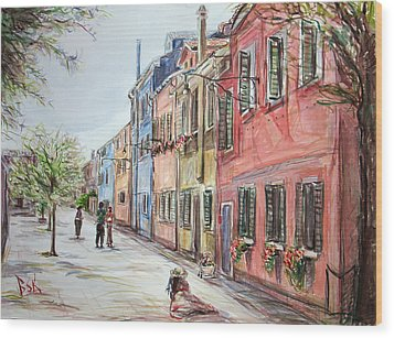 Wood Print featuring the painting Pink Street by Becky Kim