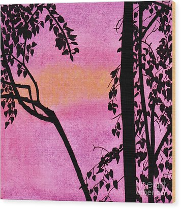 Wood Print featuring the drawing Pink Sky Sunset by D Hackett