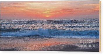 Pink Sunrise Panorama Wood Print by Kaye Menner