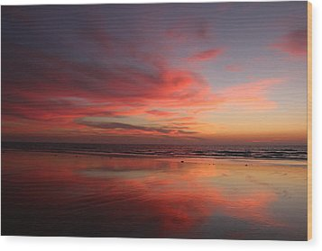 Wood Print featuring the photograph Ocean Sunset Reflected  by Christy Pooschke