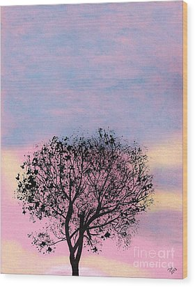 Wood Print featuring the drawing Pink Sunset by D Hackett