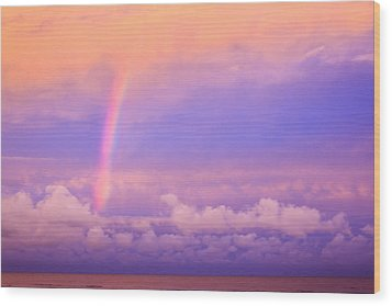 Wood Print featuring the photograph Pink Sunset Rainbow by Peta Thames