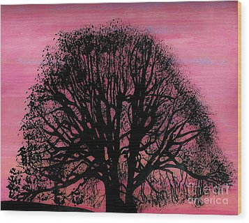 Wood Print featuring the drawing Pink Sunset Tree by D Hackett