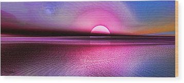 Wood Print featuring the digital art Pink Sunset by Tyler Robbins