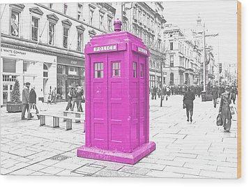 Pink Tardis  Wood Print by Rob Hawkins