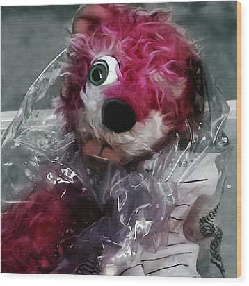 Pink Teddy Bear In Evidence Bag @ Tv Serie Breaking Bad Wood Print