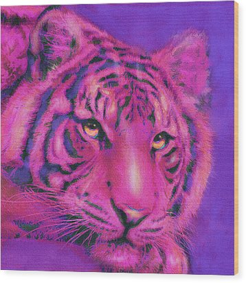 Pink Tiger Wood Print by Jane Schnetlage