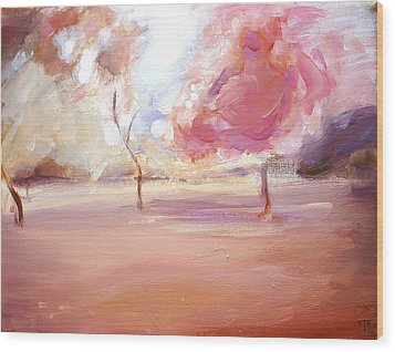 Pink Trees Wood Print by Tanya Byrd