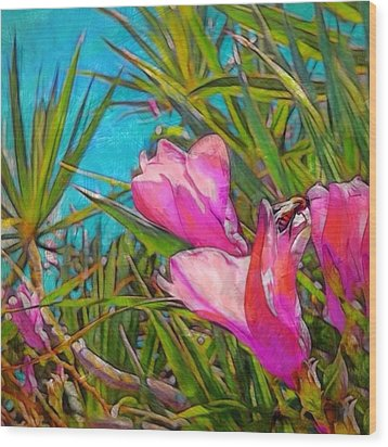Pink Tropical Flower With Honeybee - Square Wood Print