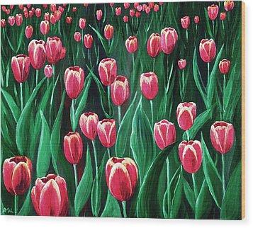 Pink Tulip Field Wood Print by Anastasiya Malakhova