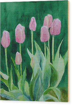 Pink Tulips Colorful Flowers Garden Art Original Watercolor Painting Artist K. Joann Russell Wood Print