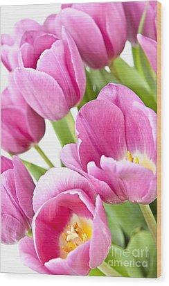 Pink Tulips Wood Print by Elena Elisseeva