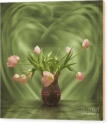 Pink Tulips In Green Room Wood Print