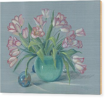 Wood Print featuring the painting Pink Tulips In Green Vase by Dan Redmon