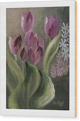 Pink Tulips Wood Print by Nancy Edwards