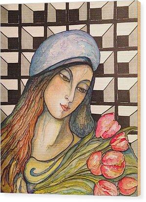 Pink Tulips Wood Print by Rae Chichilnitsky