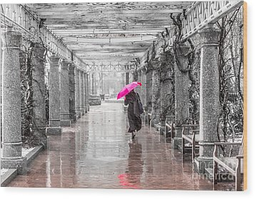 Pink Umbrella In A Storm Wood Print