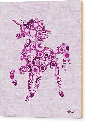 Pink Unicorn - Animal Art Wood Print by Anastasiya Malakhova