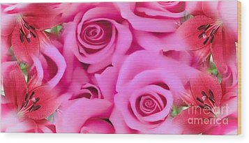 Wood Print featuring the painting Pink Upon Pink by Catherine Lott