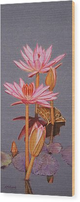 Pink Water Lilies Wood Print by Marna Edwards Flavell