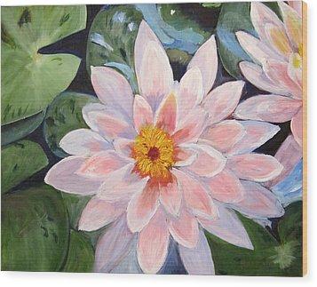 Pink Water Lilies Wood Print