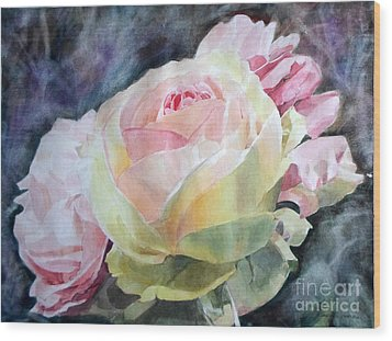 Pink Yellow Rose Angela Wood Print