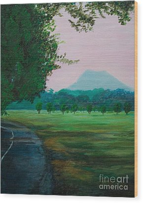 Pinnacle Mountain At Sunset From Two Rivers Park Wood Print by Amber Woodrum
