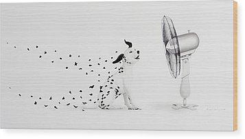 Pintas Al Aire Wood Print by Angel Ortiz
