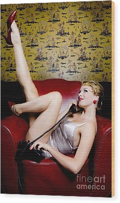 Pinup Girl With Phone Wood Print by Diane Diederich