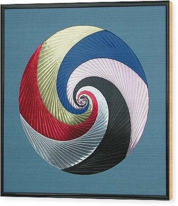 Wood Print featuring the mixed media Pinwheel by Ron Davidson