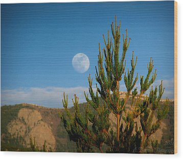 Pinyon Moon Wood Print