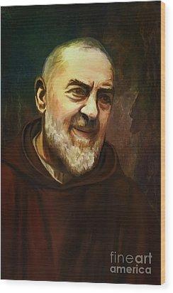 Pio Of Pietrelcina Wood Print by Andrzej Szczerski