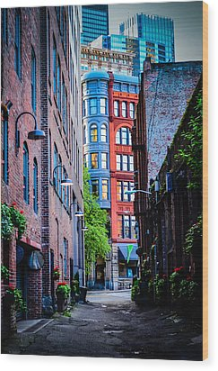 Pioneer Building Through The Alley Wood Print by Brian Xavier