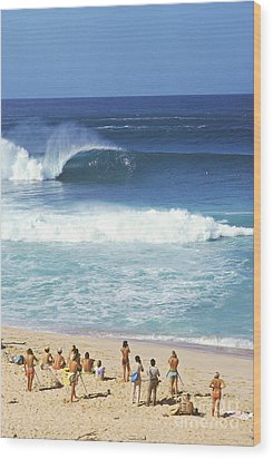 Pipeline Masters  Hawaii  1977 Wood Print by Lance Trout